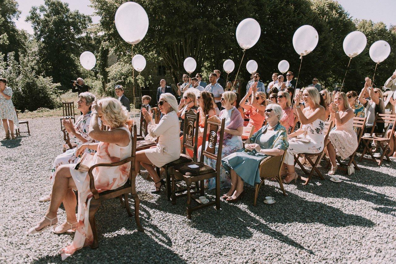 The wedding celebration in the Chateau de la Motte Husson. Destination wedding photographer