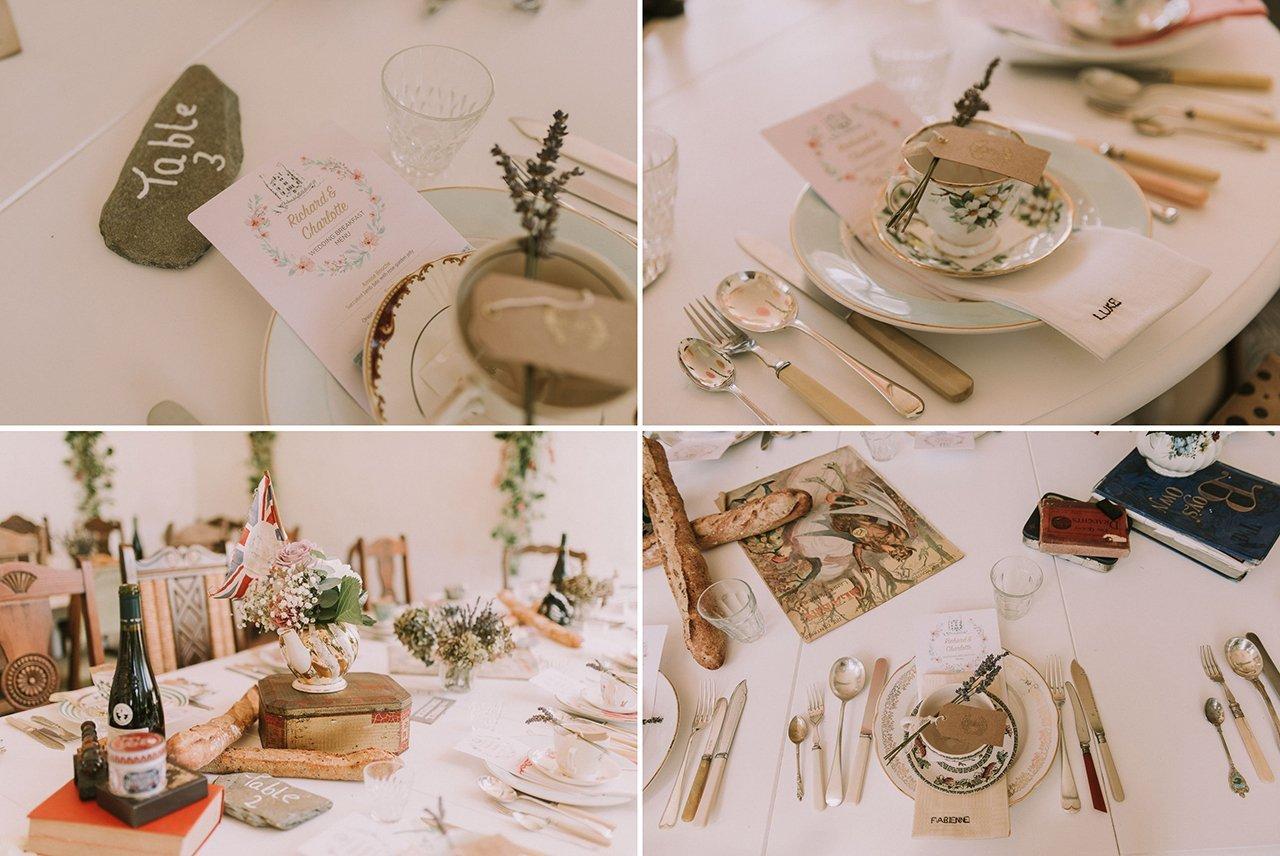 Decoración para mesas de una boda estilo vintage