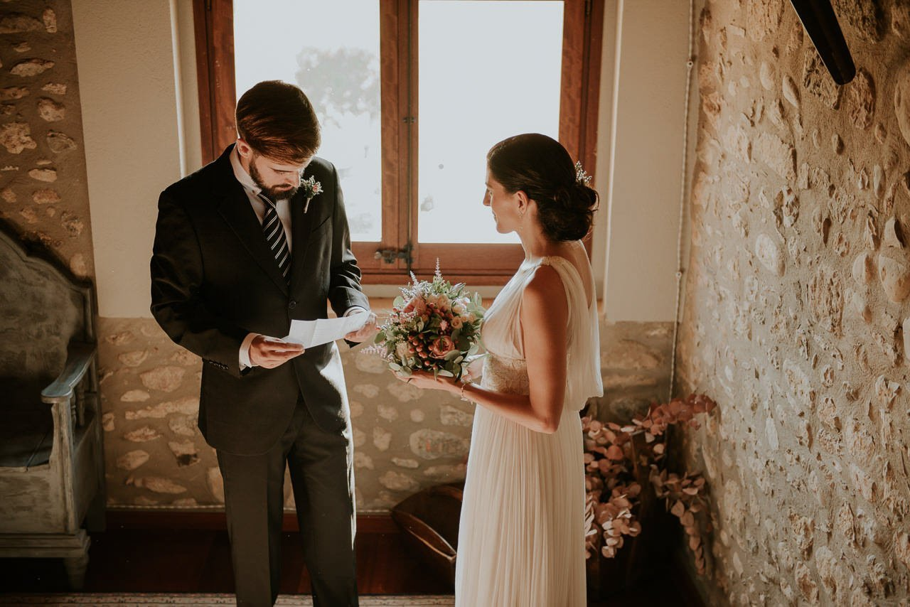 padrino y novia en Mas Terrats