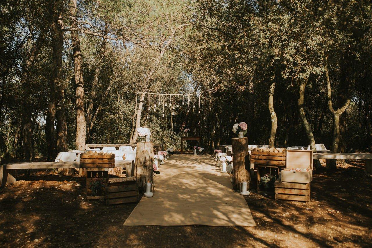 montaje ceremonia en exterior en Mas Terrats