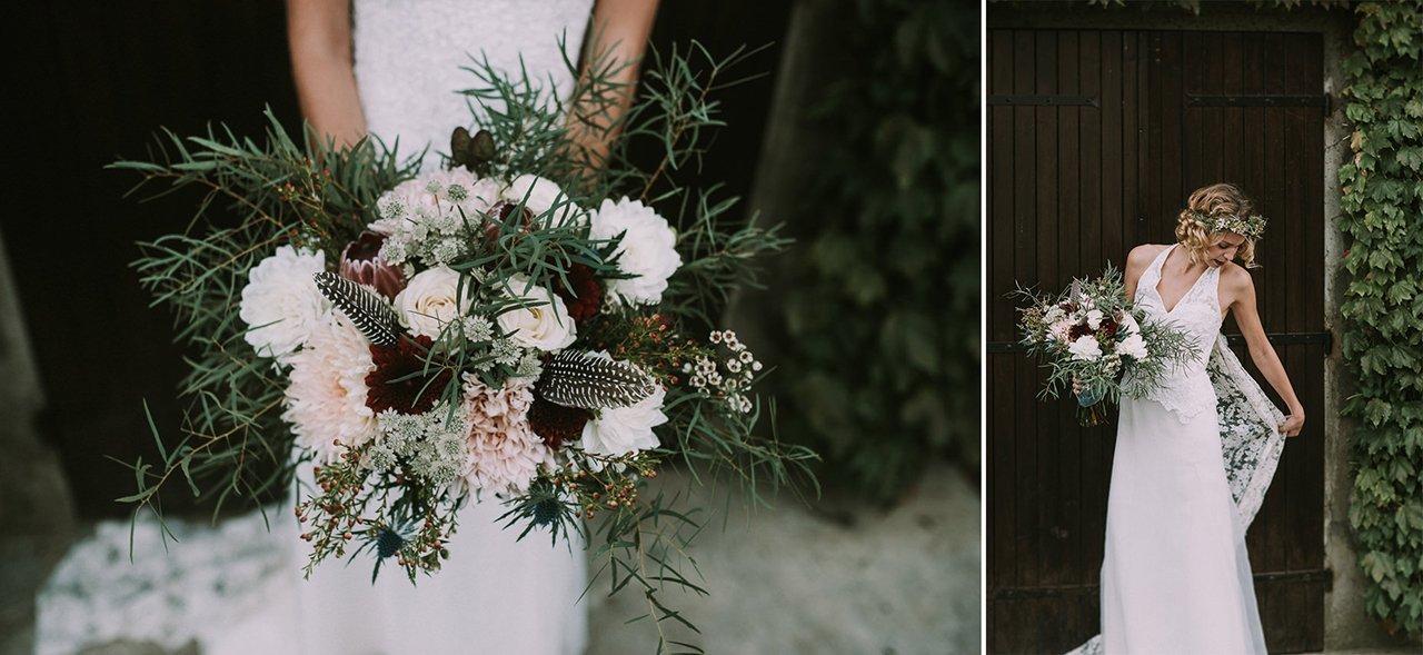 Inspiración de ramos de novias con flores silvestres y plumas