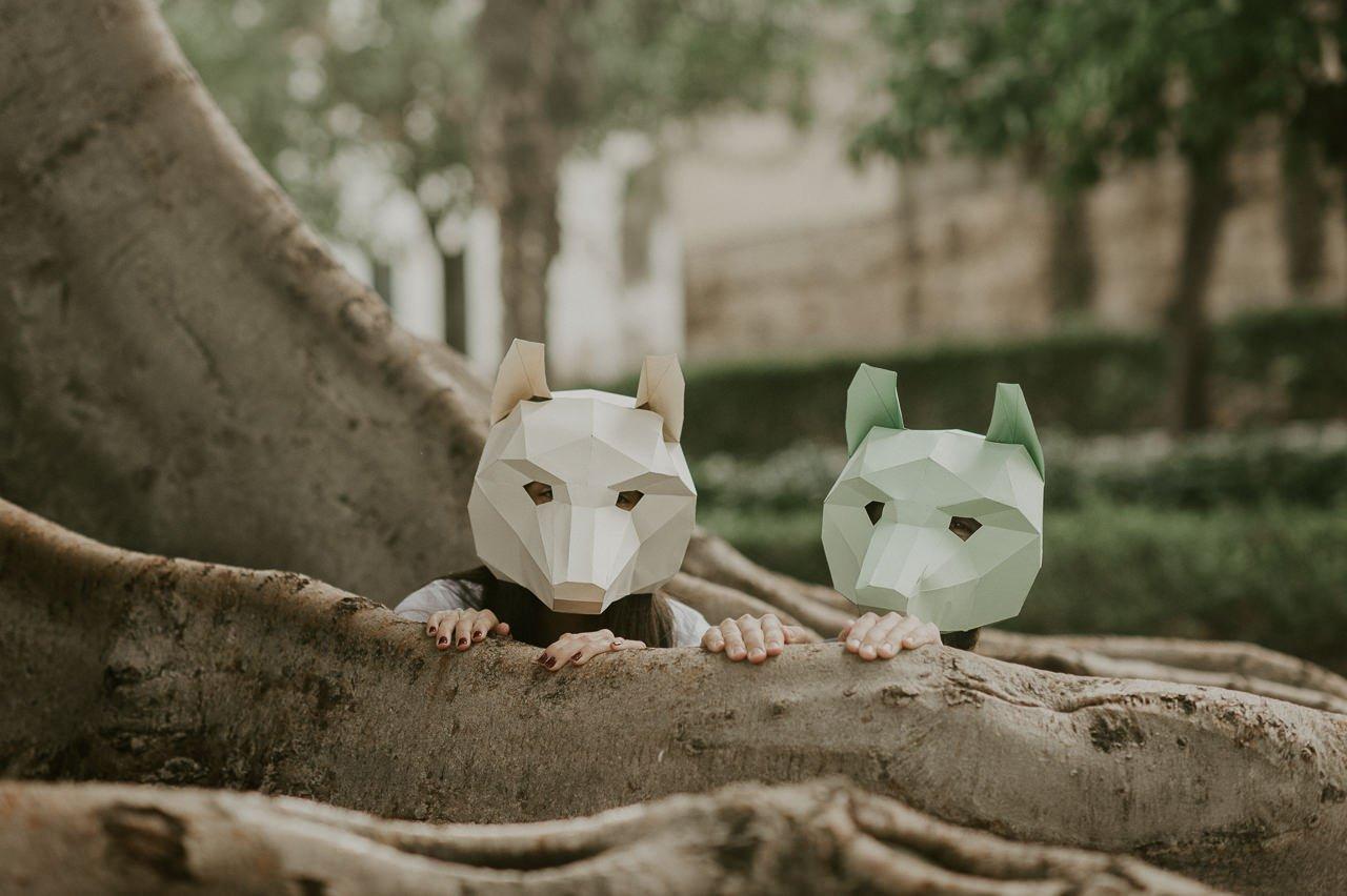 Máscaras de animales hechas con papel